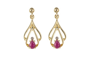 9ct Yellow Gold Ruby & Diamond Drop Earrings