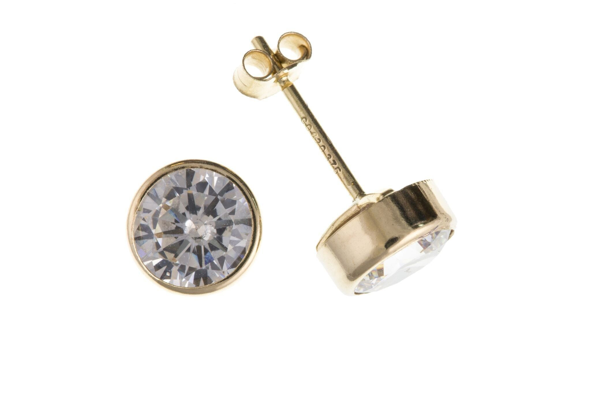 9ct Yellow Gold CZ Stud Earring