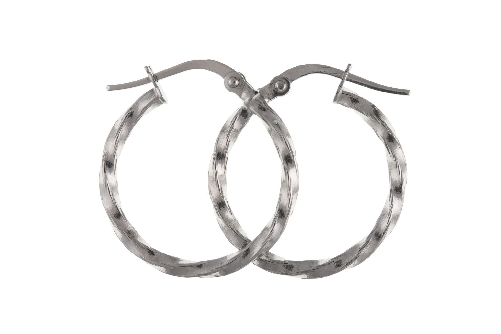 9ct White Gold Creole Earrings