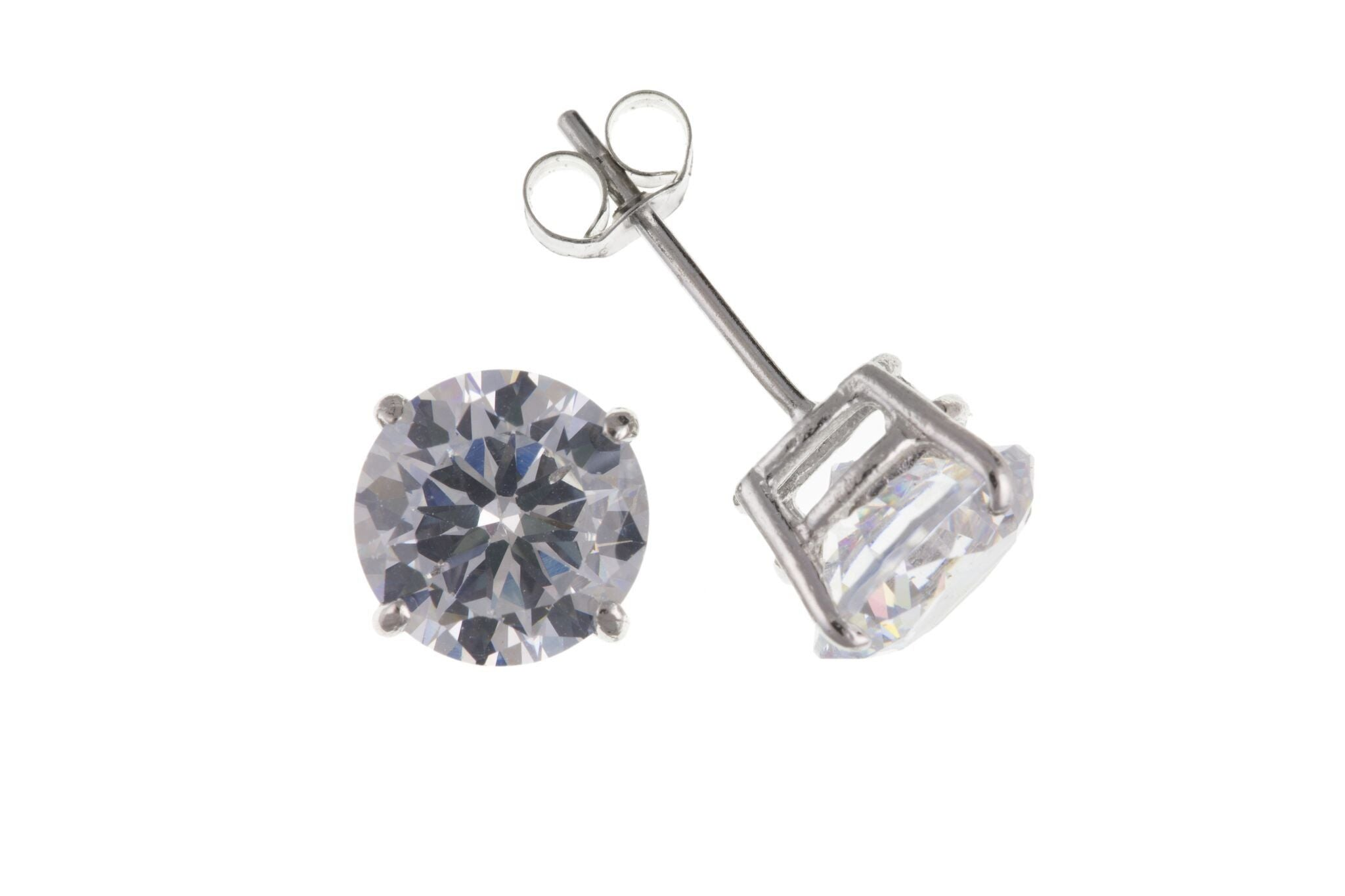 9ct White Gold CZ Stud Earrings