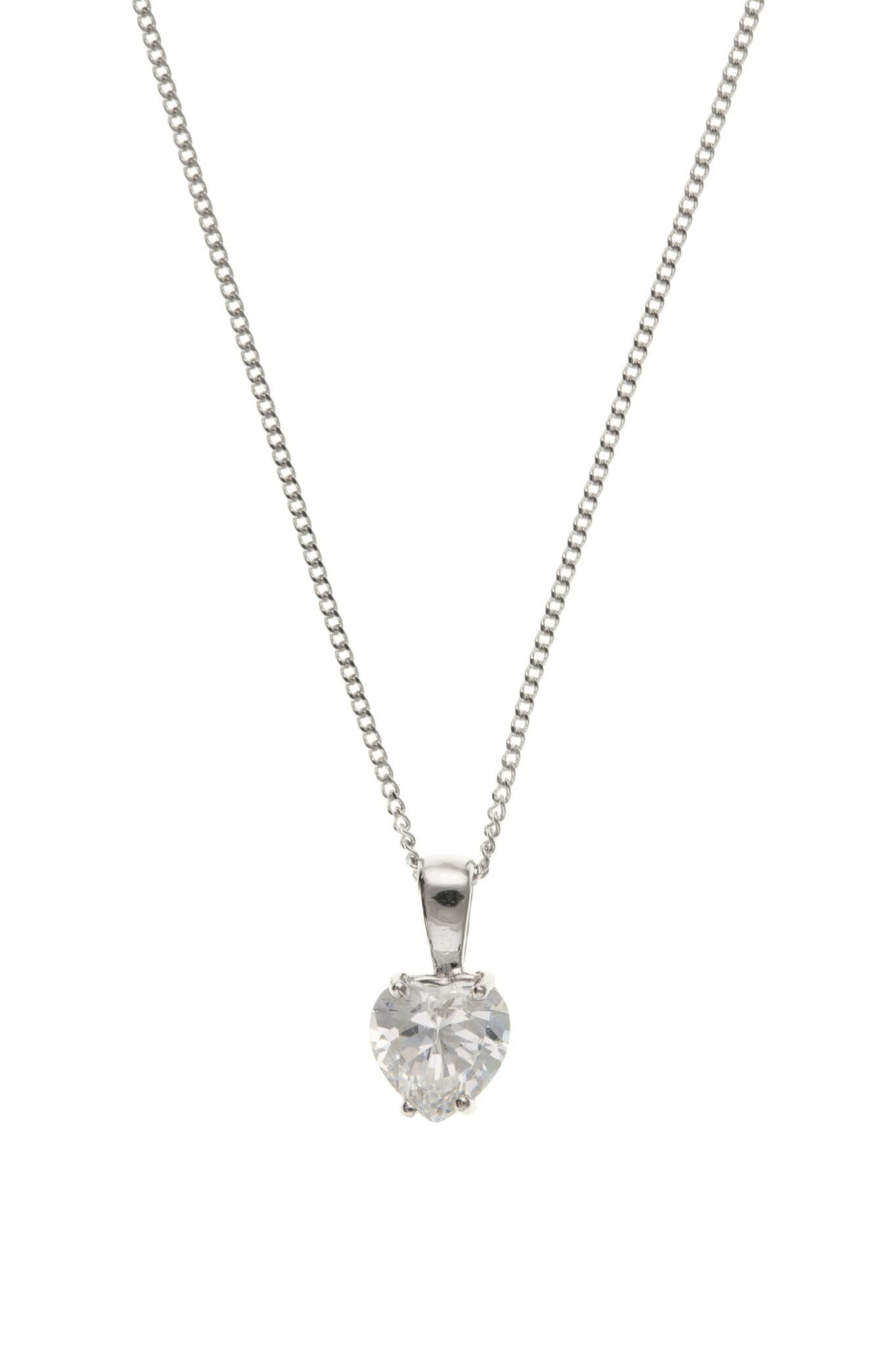 9ct White Gold Heart CZ Pendant