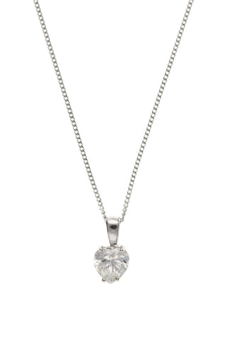 9ct White Gold Heart CZ Pendant 9W4406AT - Jay's Jewellery