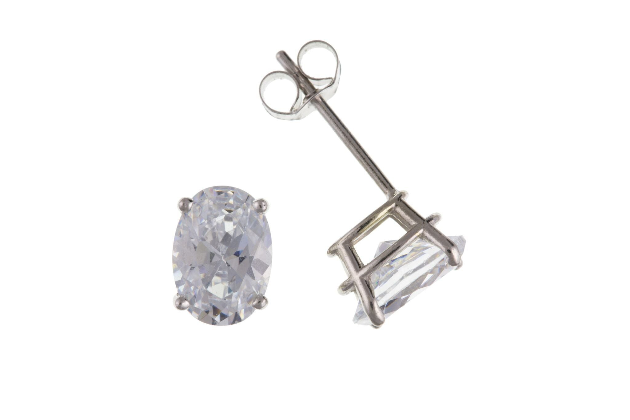 9ct White Gold Oval CZ Stud Earrings