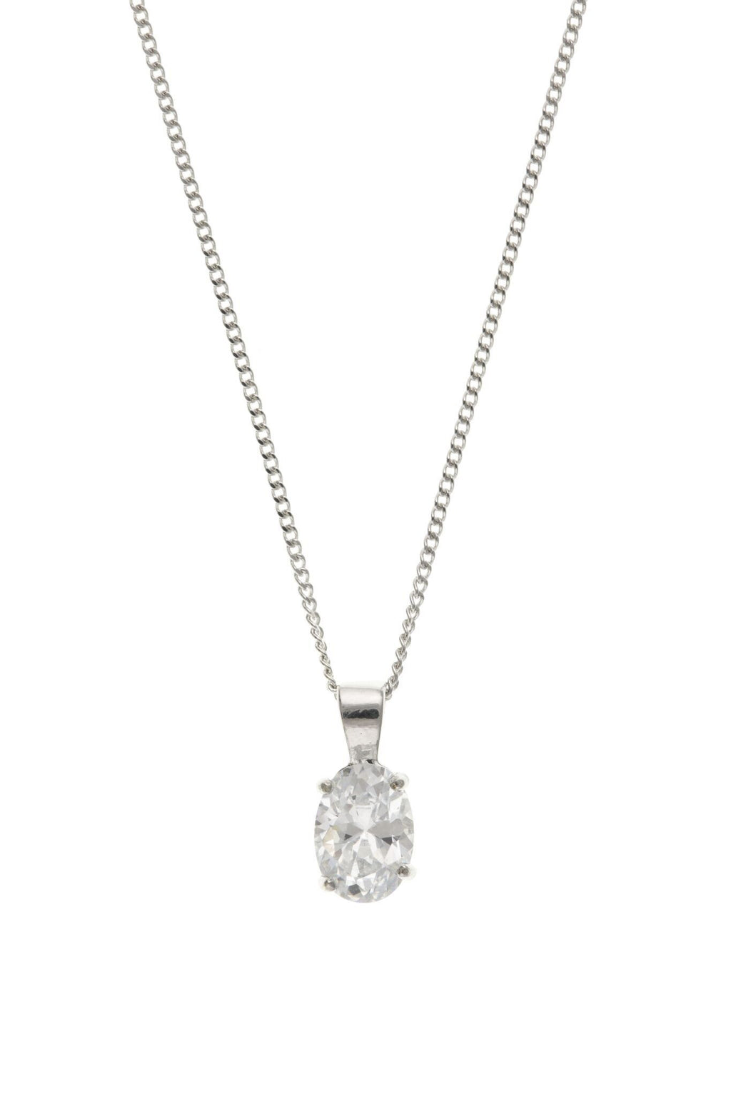 9ct White Gold Oval CZ Pendant