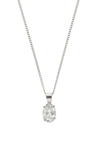 White Gold Oval CZ Pendant 9W4407AT - Jay's Jewellery