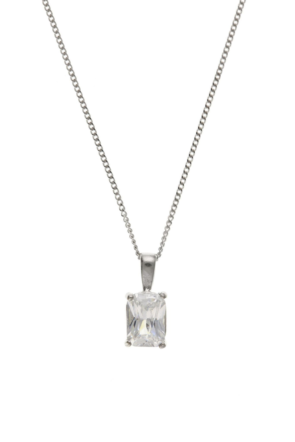 9ct White Gold Oblong CZ Pendant