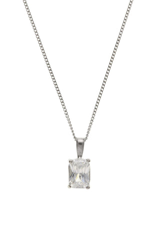White Gold Oblong CZ Pendant 9W4409AT - Jay's Jewellery