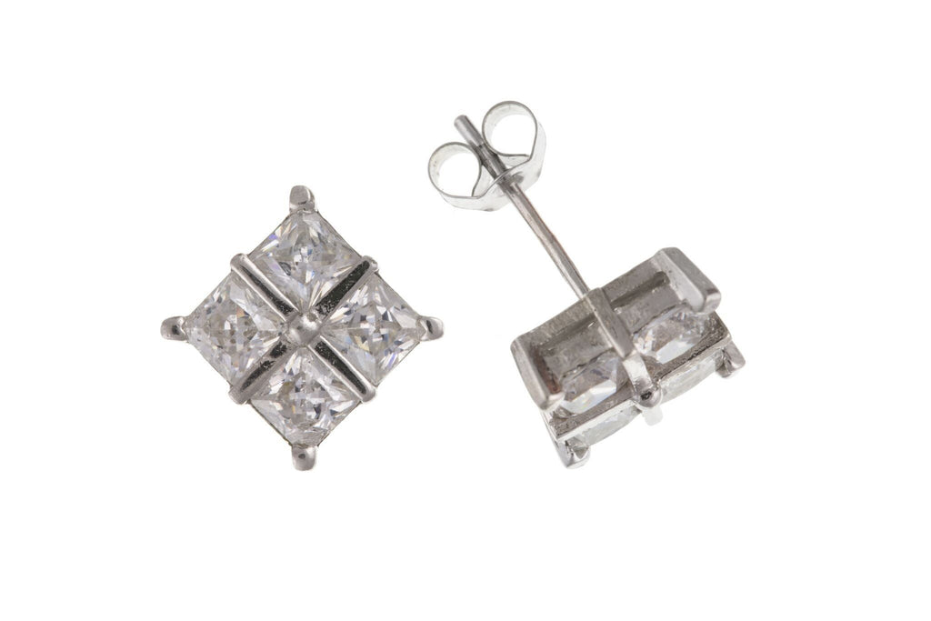 9ct White Gold Square CZ Stud Earrings