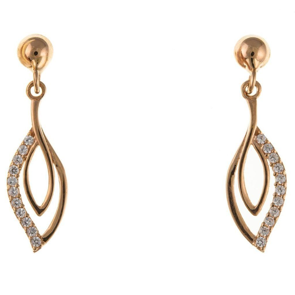 9Ct Rose Gold Cz Drop Earrings 9R8020Ap