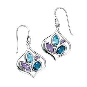 Sterling Silver Blue Topaz & Amethyst Earrings SV3610E - Jay's Jewellery