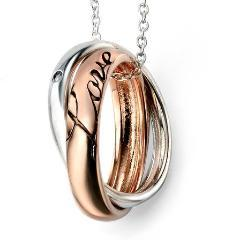 Sterling Silver & Rose Gold Plated Love Pendant SV3804NC - Jay's Jewellery