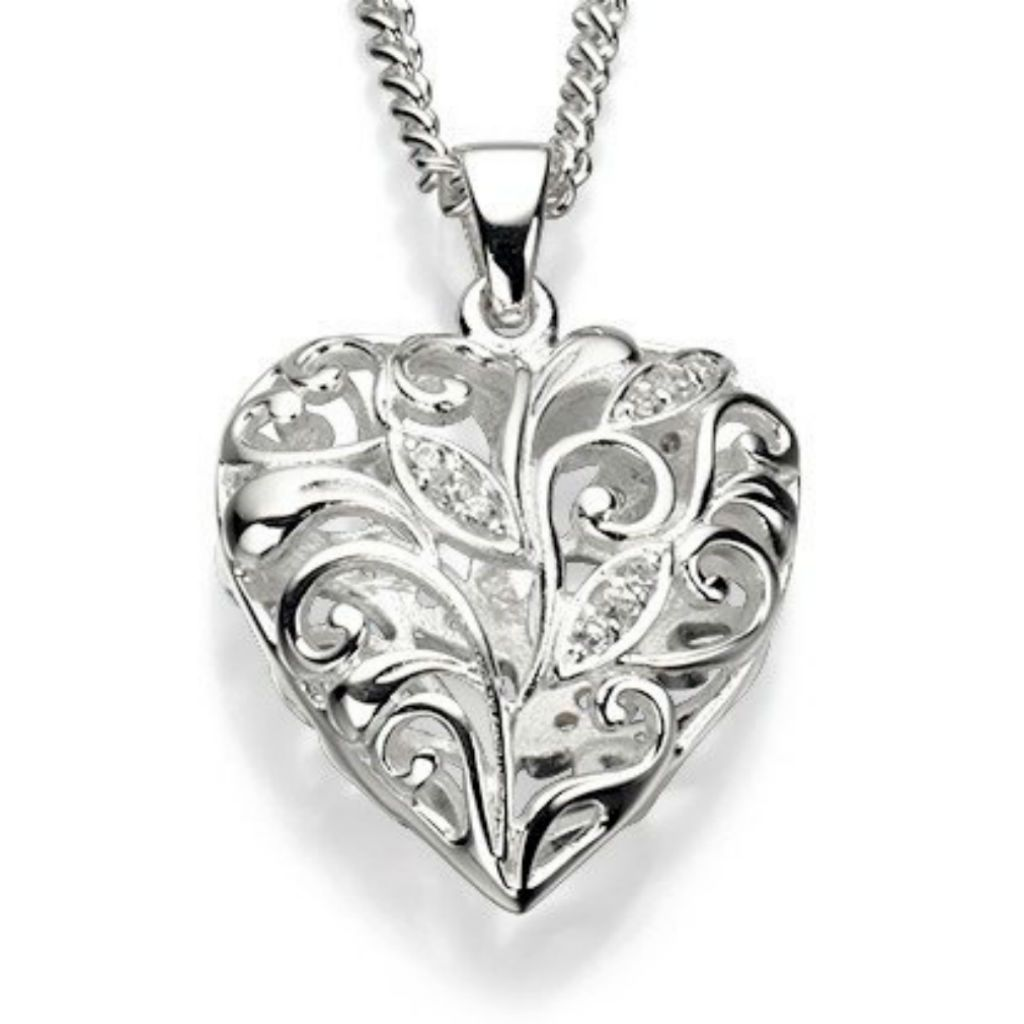 Sterling Silver & CZ Heart Locket