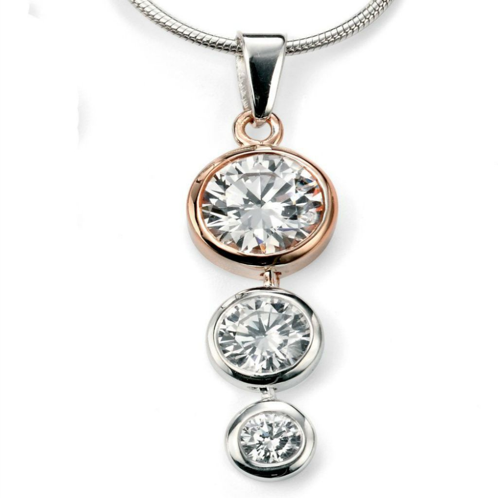 Sterling Silver & Rose Gold Plated Pendant SV4167PC - Jay's Jewellery