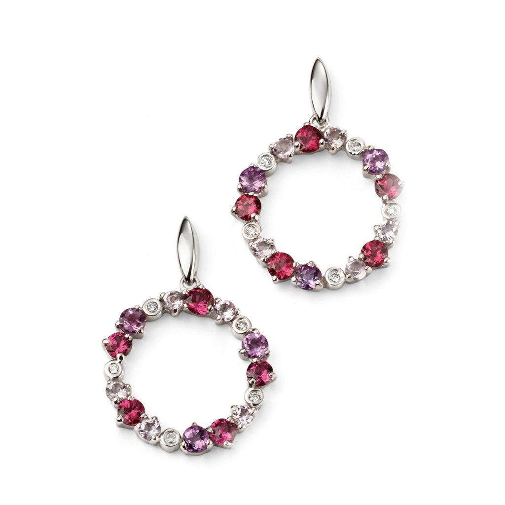 9ct White Gold Multi Gem Drop Earrings