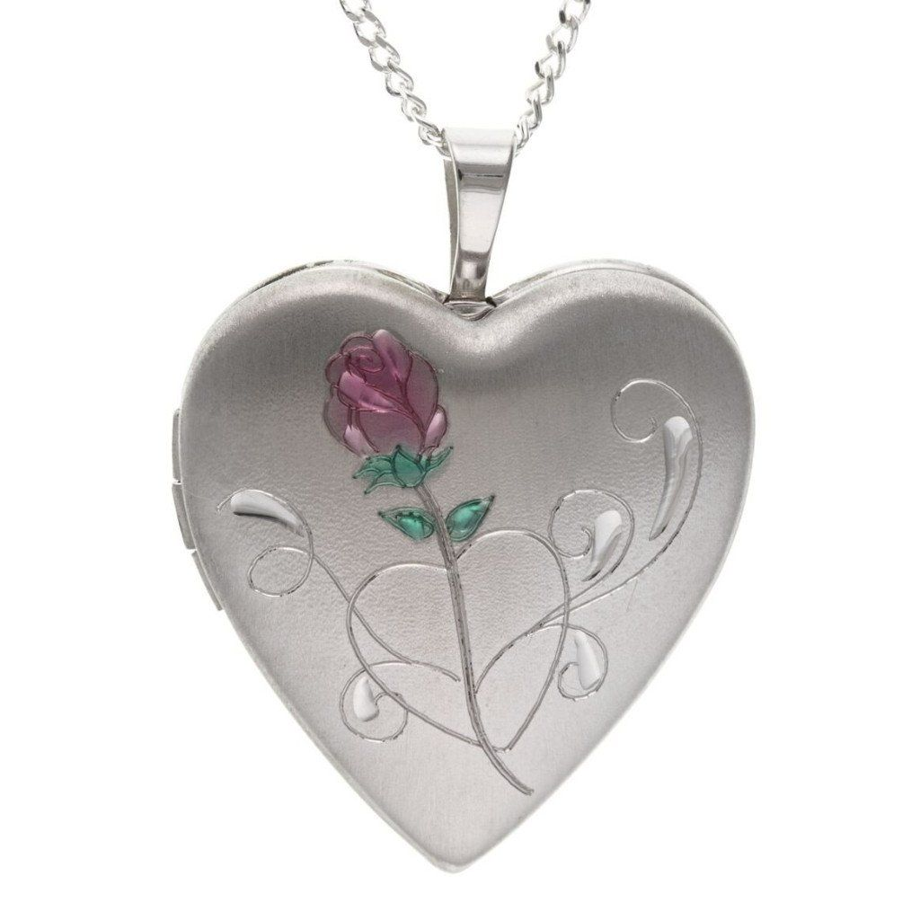 Silver Heart Locket With Rose SV4726BT - Jay's Jewellery