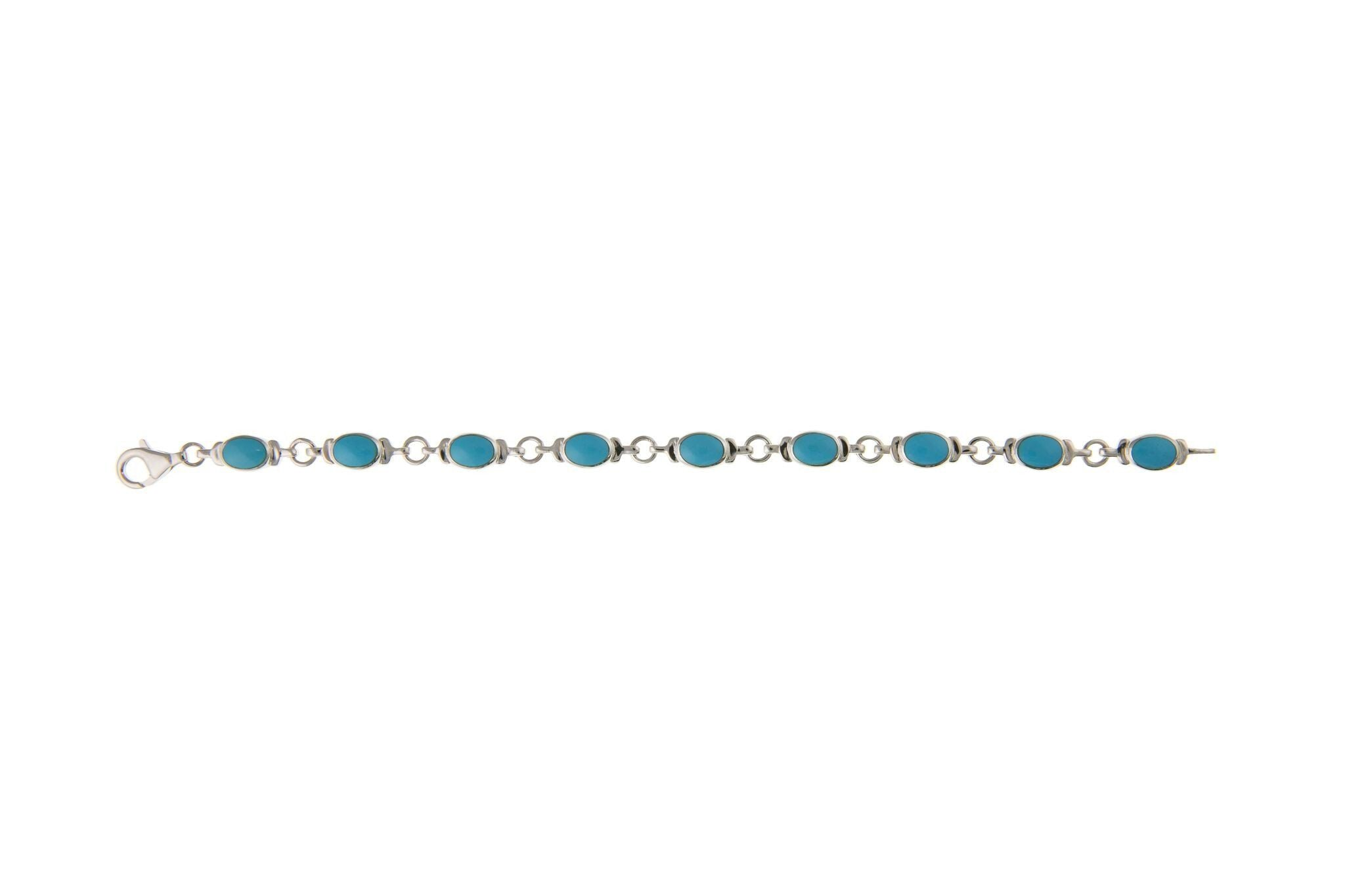 Sterling Silver & Turquoise Bracelet SV15007BN - Jay's Jewellery
