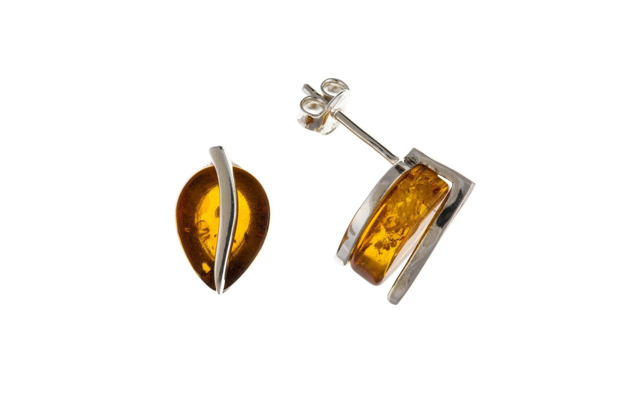 Sterling Silver & Amber Stud Earrings SV6413BP - Jay's Jewellery