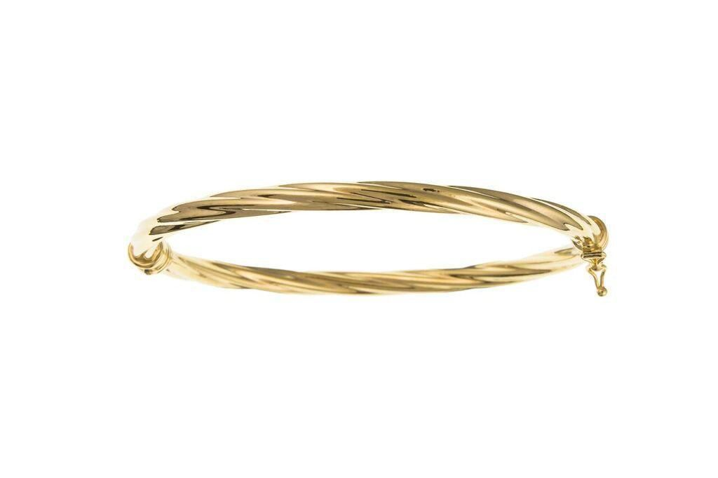 Yellow Gold Hinged Bangle 9Y03407AN - Jay's Jewellery