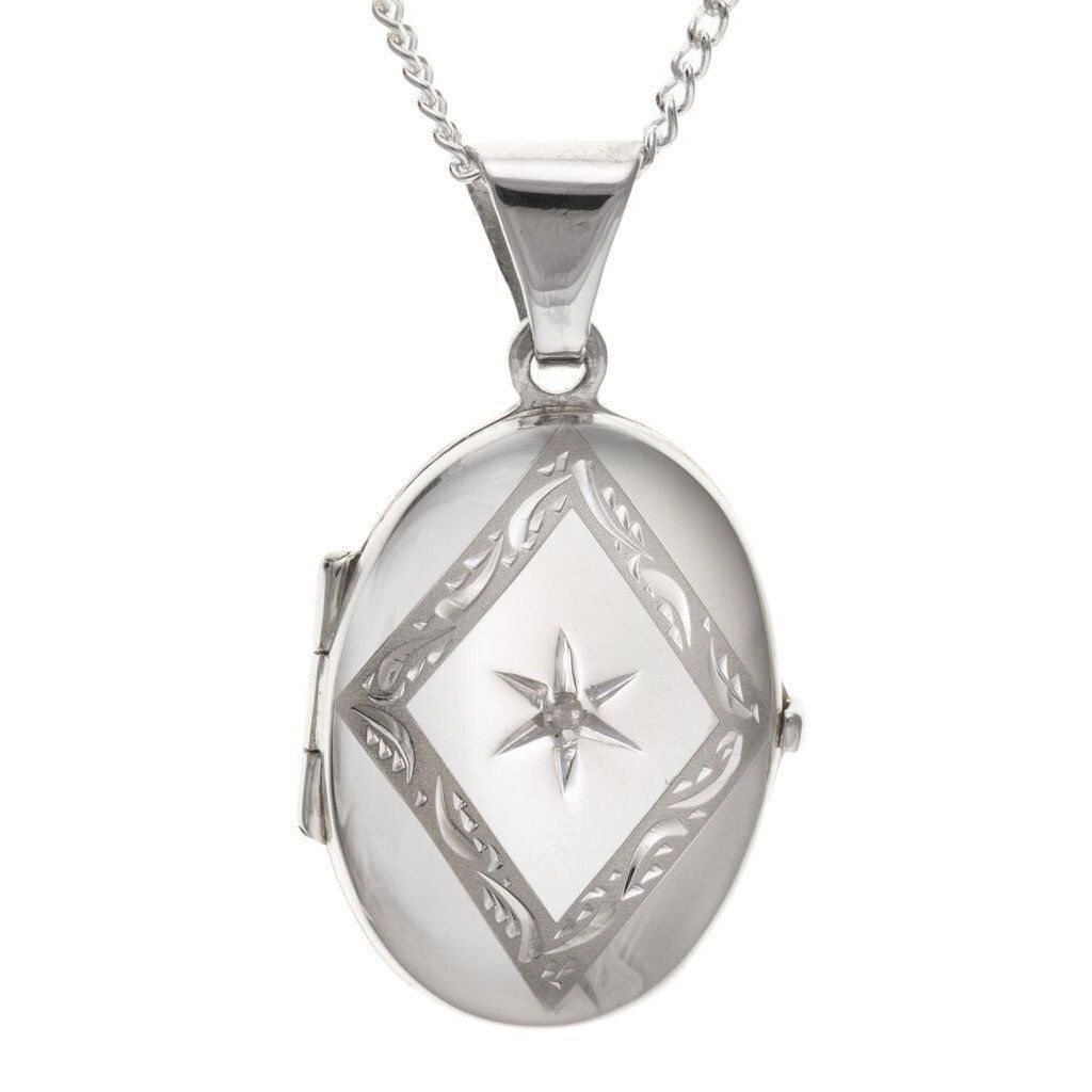 Silver Oval Locket With Diamond SV4662BT - Jay's Jewellery