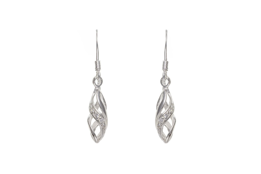 Silver CZ Cage Drop Earrings SV0272BP - Jay's Jewellery