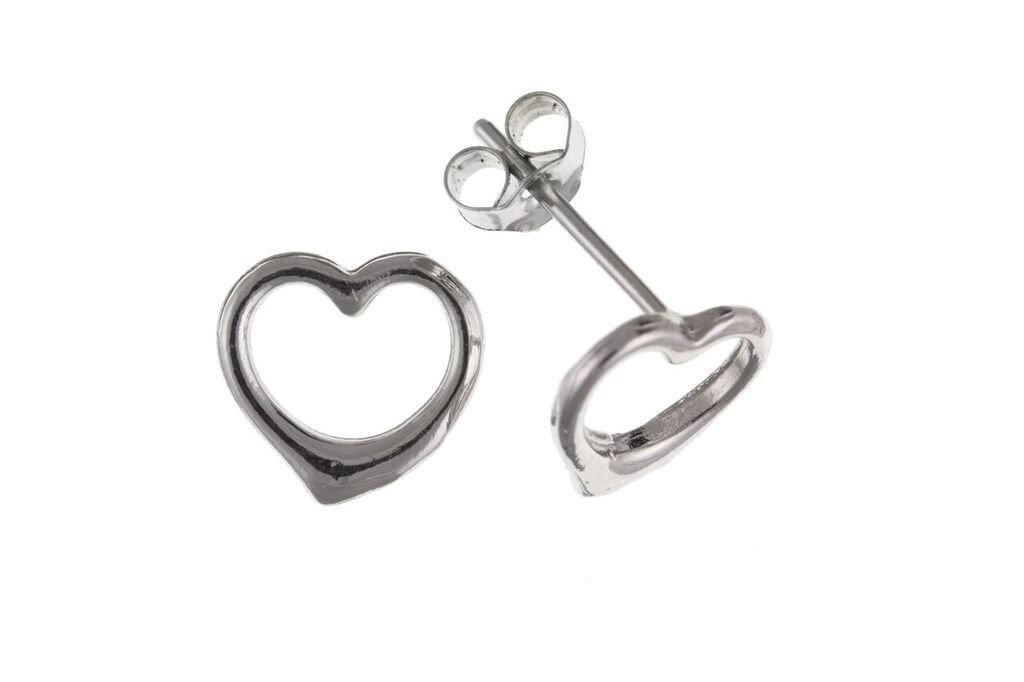 9ct White Gold Heart Stud Earrings 9W4006AP - Jay's Jewellery