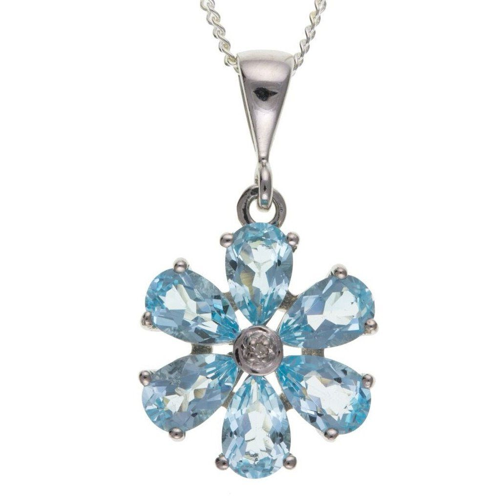 Sterling Silver, Blue Topaz & Diamond Pendant SV0093BT - Jay's Jewellery