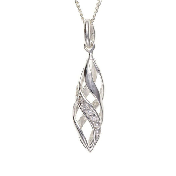 Silver CZ Cage Pendant SV0057BT - Jay's Jewellery