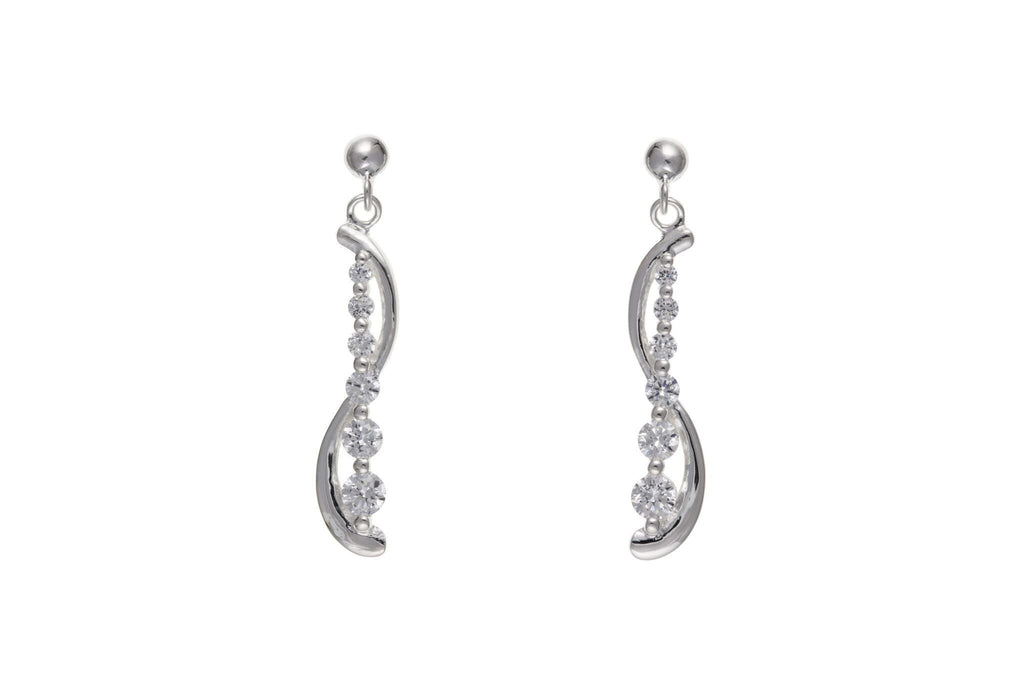 Silver CZ Drop Earrings SV6228BP - Jay's Jewellery