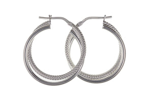 Silver Creole Earrings SV0110BP - Jay's Jewellery