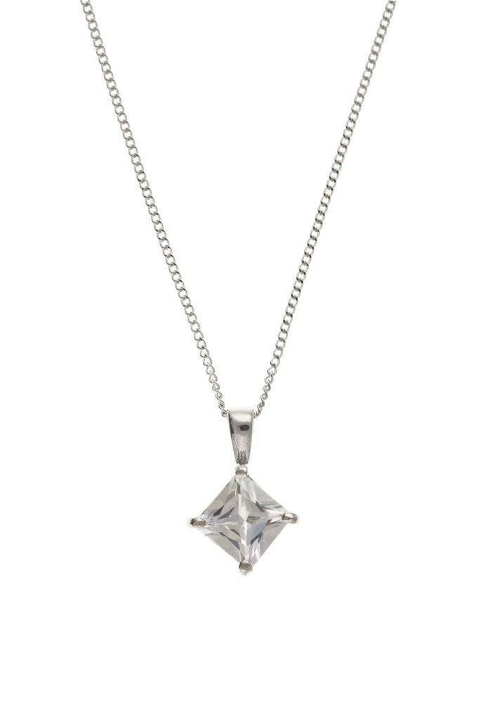 9ct White Gold CZ Pendant