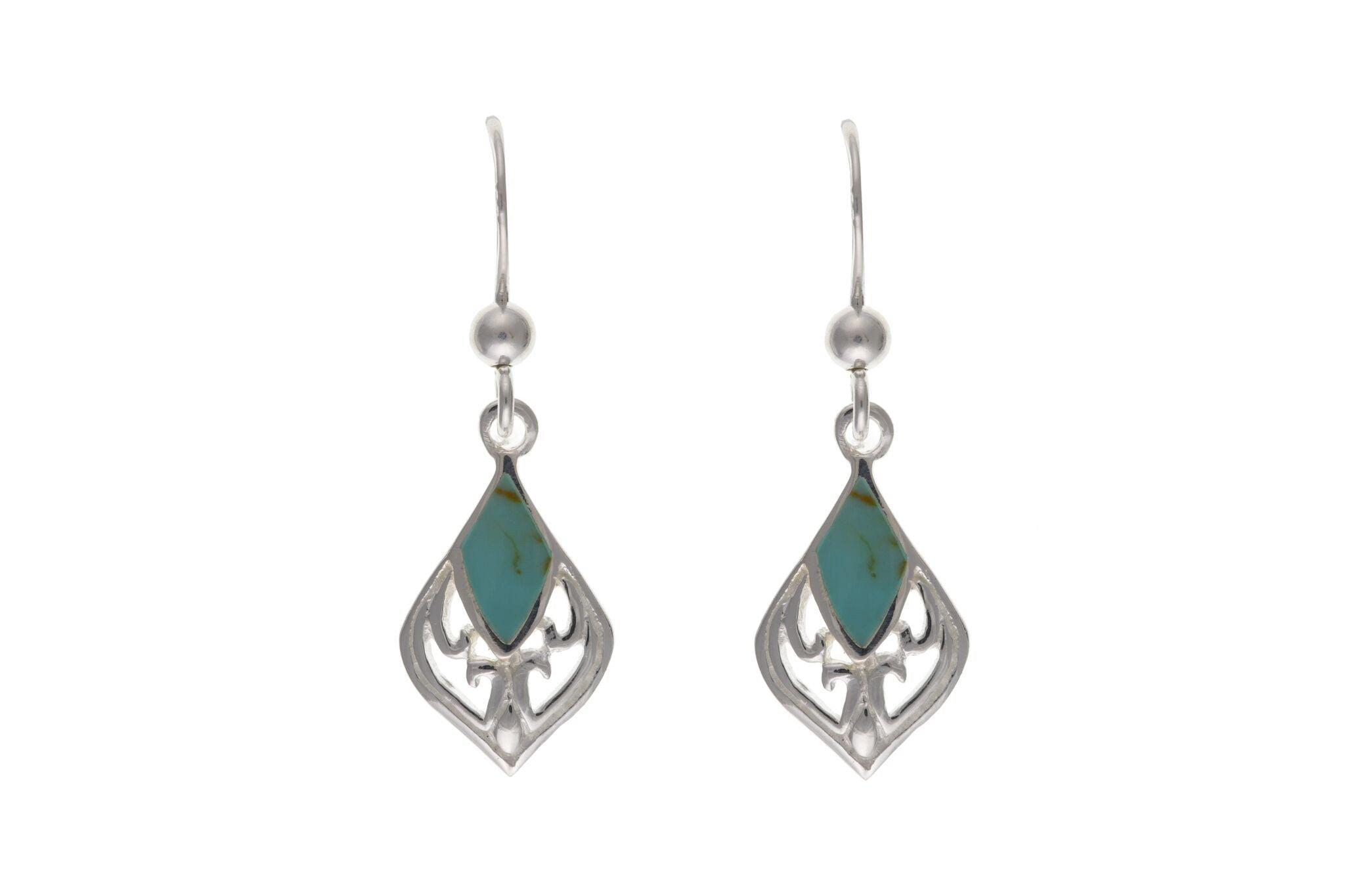 Sterling Silver & Turquoise Drop Earrings SV0283BP - Jay's Jewellery