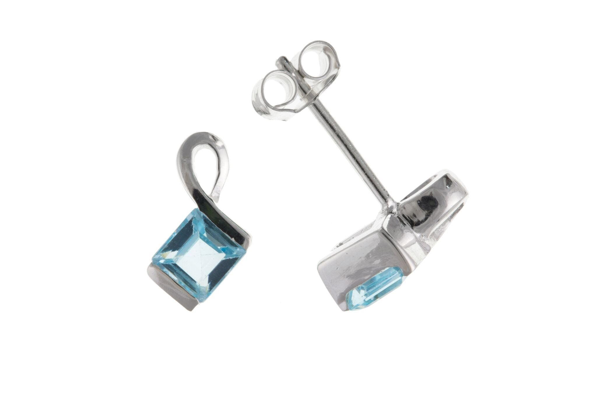Sterling Silver & Blue Topaz Stud Earrings SV0717BP - Jay's Jewellery