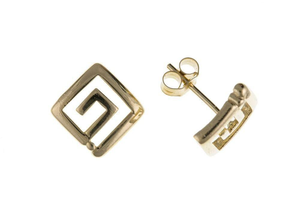 9ct Yellow Gold Greek Key Stud Earrings