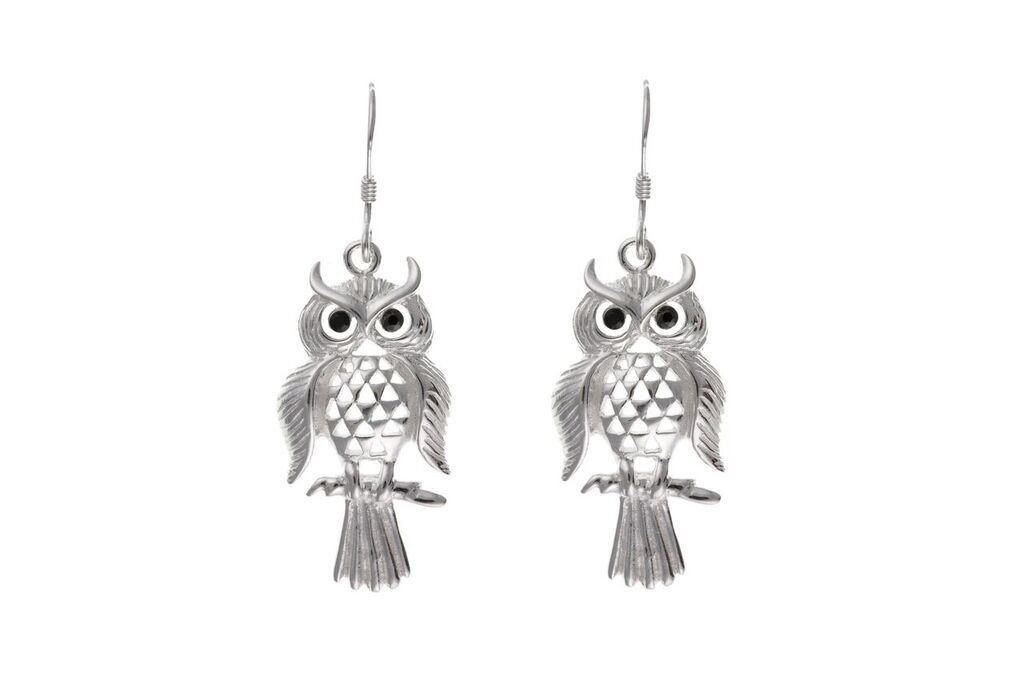 Silver Owl Drop Earrings SV0044BP - Jay's Jewellery