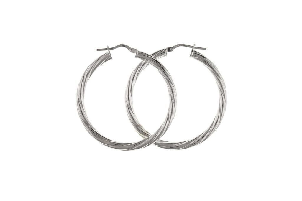 Silver Creole Earrings SV0108BP - Jay's Jewellery