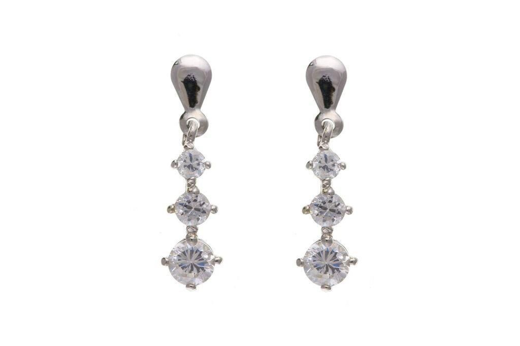 9ct White Gold Drop Earrings With CZ