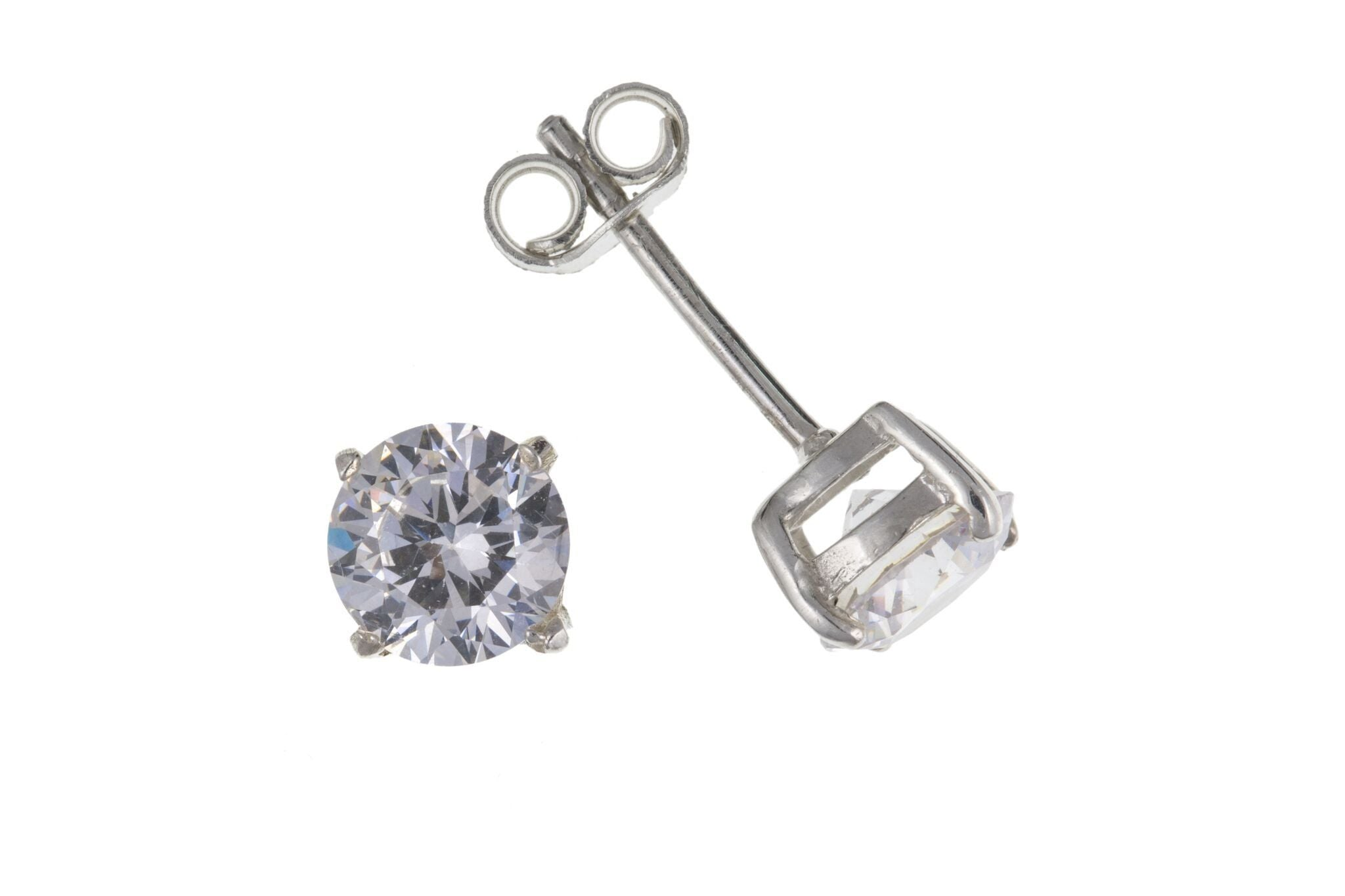 Silver CZ Stud Earrings (Heavyweight) SV6479BP - Jay's Jewellery