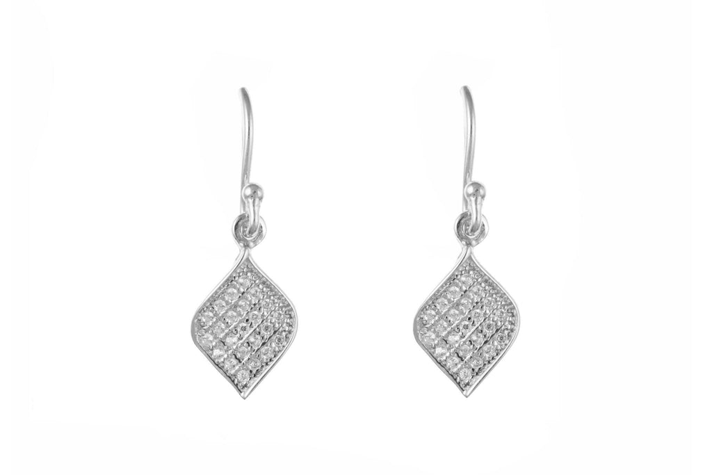 Silver Pavé Set CZ Drop Earrings SV0220BP - Jay's Jewellery