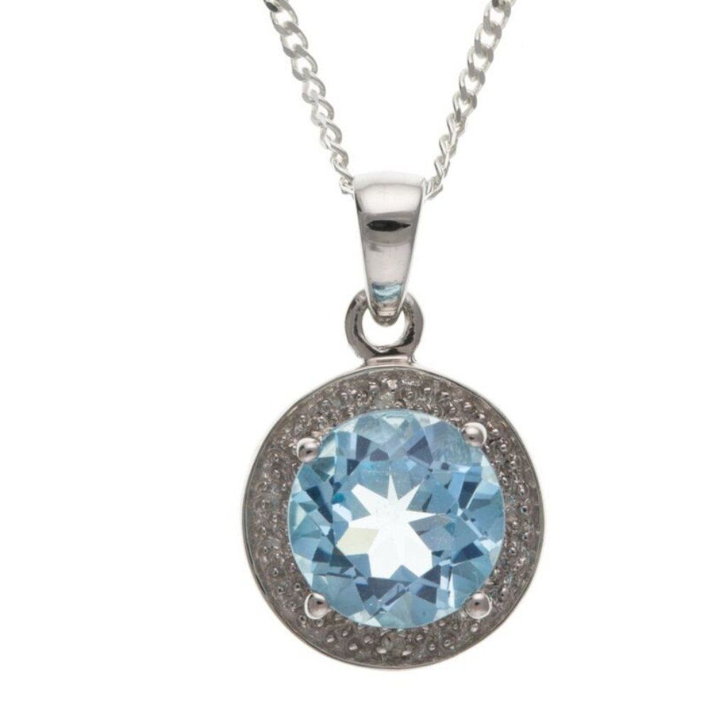 Sterling Silver, Blue Topaz & Diamond Pendant SV4632BT - Jay's Jewellery