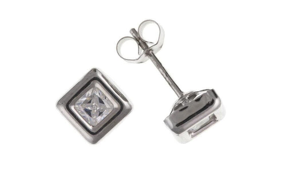 9ct White Gold Stud Earrings With CZ