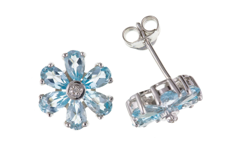Sterling Silver, Blue Topaz & Diamond Stud Earrings SV0149BP - Jay's Jewellery