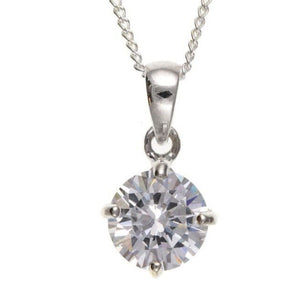 Silver Solitaire CZ Pendant (Heavyweight) SV4535BT - Jay's Jewellery