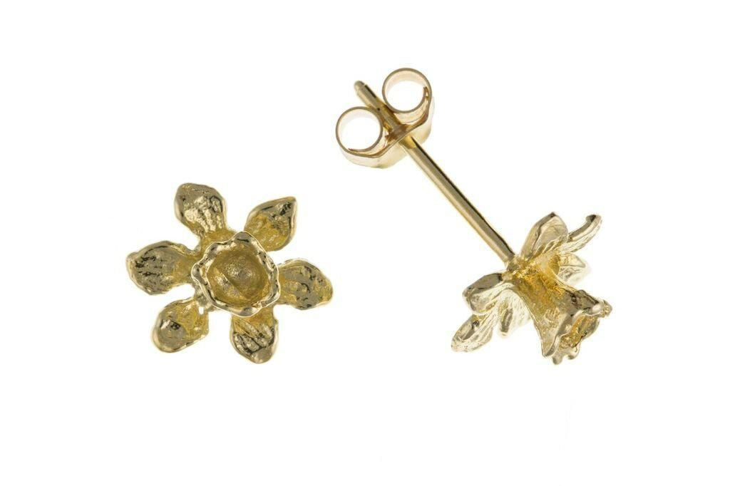 9ct Yellow Gold Daffodil Stud Earrings
