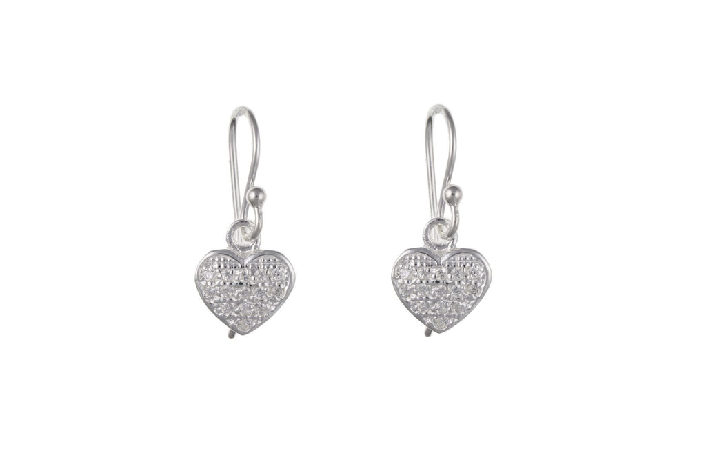Silver Pavé Set CZ Drop Earrings SV0221BP - Jay's Jewellery