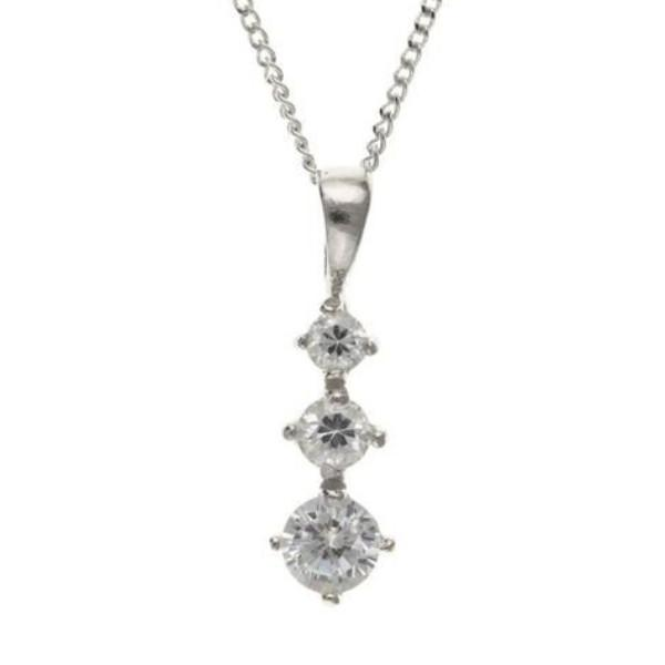 9ct White Gold 3 CZ Pendant