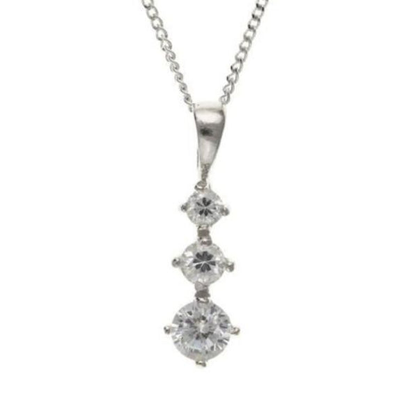 9ct White Gold 3 CZ Pendant 9W4402AT - Jay's Jewellery