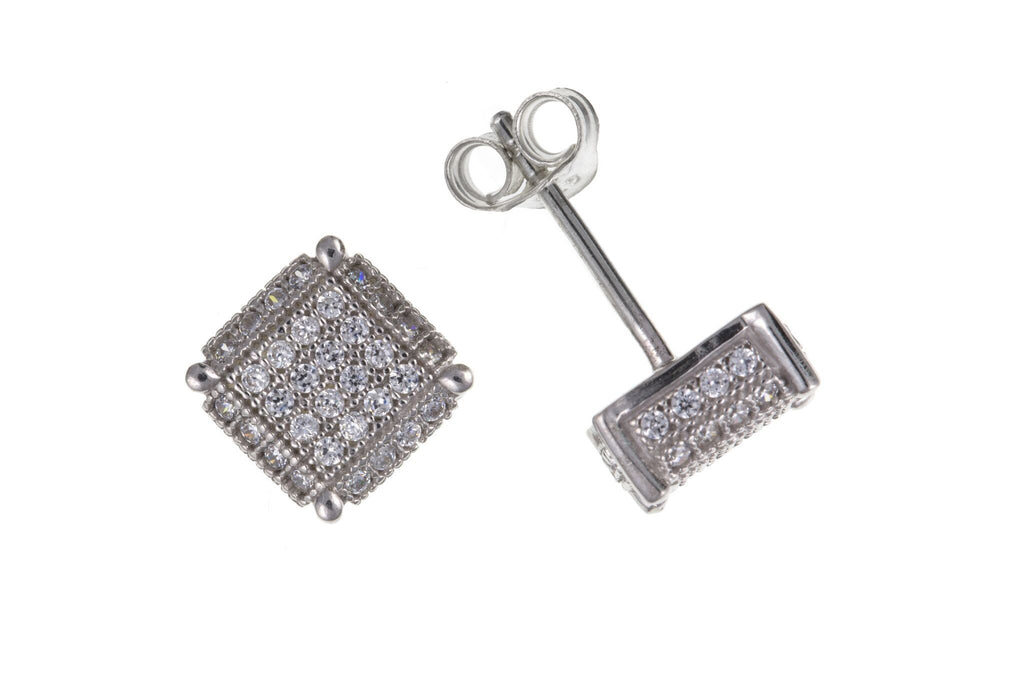 Silver Pavé Set CZ Square Stud Earrings SV0539BP - Jay's Jewellery