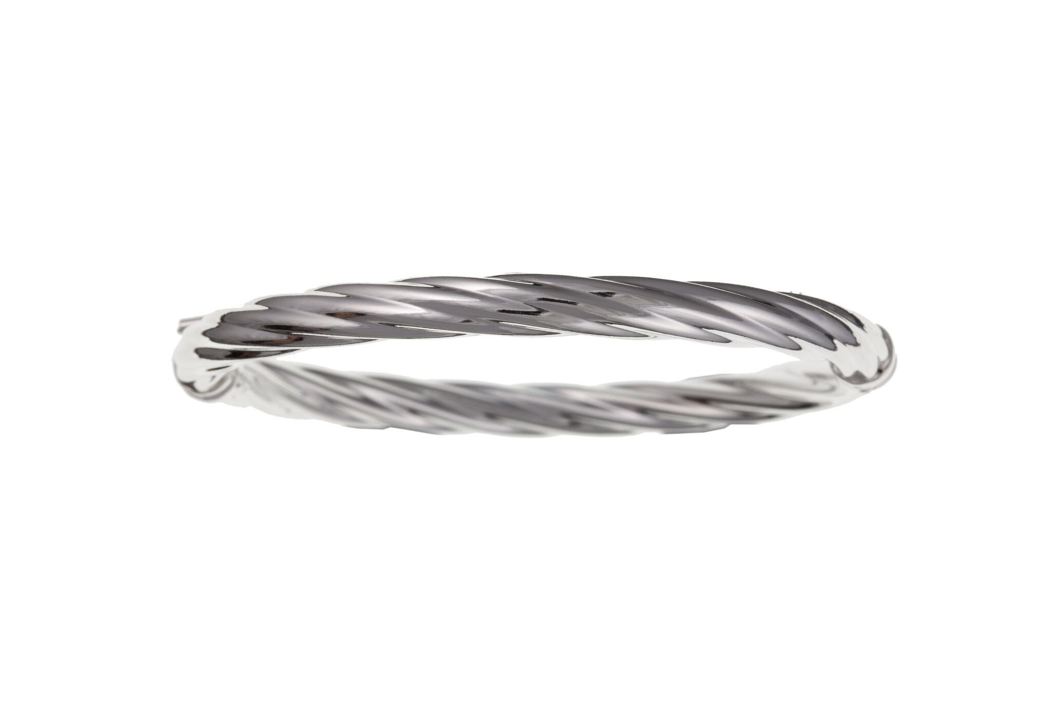 Silver Twist Bangle SV11907BN - Jay's Jewellery