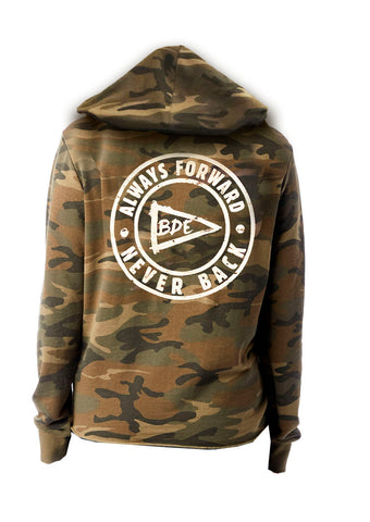 Always Forward Never Back Relaxed Ladies' Hoodie-Camo