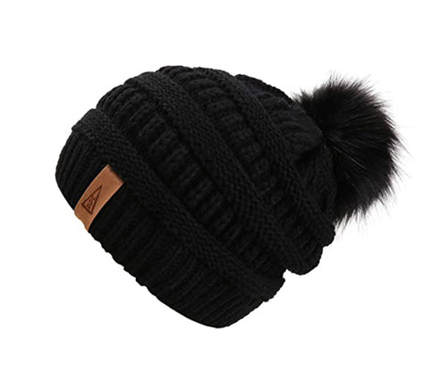 The Crew Pom Pom Hat-Black